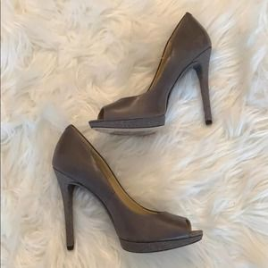 B Brian Atwood Gray Sparkly Open Toe Heels 7.5